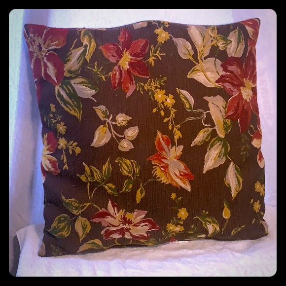 None Other - 100% Polyester Floral Accent Pillow